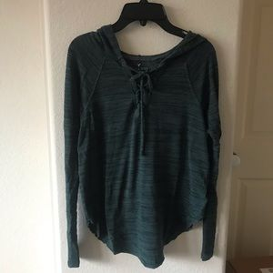 Green American Eagle Lace Front Hoodie Shirt